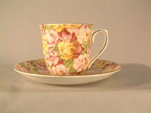 Colclough Bone China Pink Red Yellow Rose Chintz Demitasse Cup and + Saucer Set