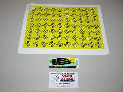 140 Soda Vending Machine 2.50 Vend Label Price Stickers Free Ship