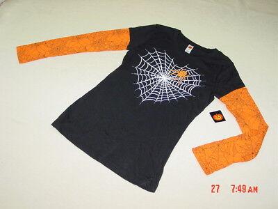 NWT Junior Womens Unique Layered Look Halloween Shirt Spider Web Black Orange - Unique Halloween Shirts