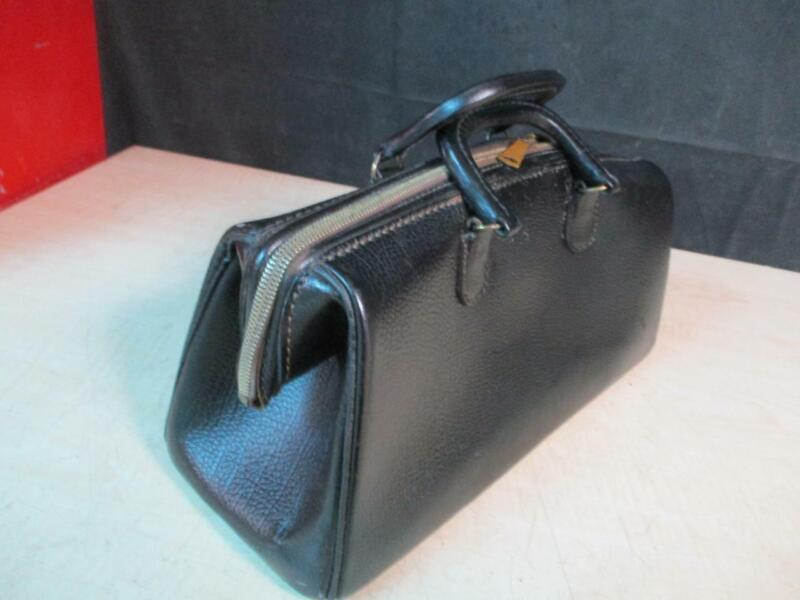 "ANTIQUE DOCTOR HAND BAG BLACK LEATHER COWHIDE 14"" X 6"" X 6"" GOOD SH"