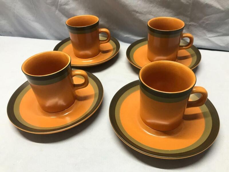 ARROW STONE  (4) Teacups and Saucers - CHEROKEE - Green & Brown Stripes - JAPAN