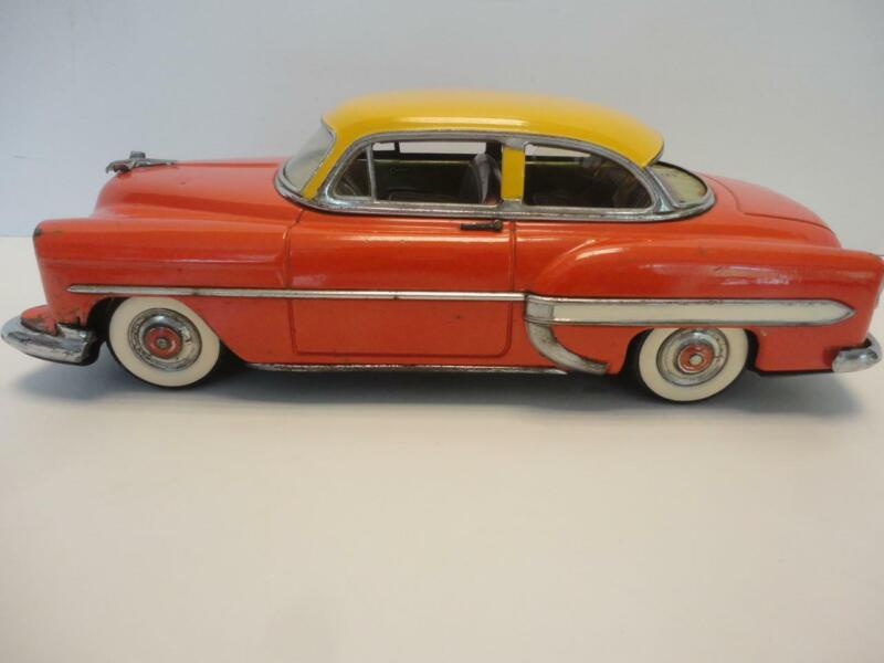 "Vintage 1950s Tin Friction Car Chevy Orange & Yellow Marusan Japan 11"" Long RARE"