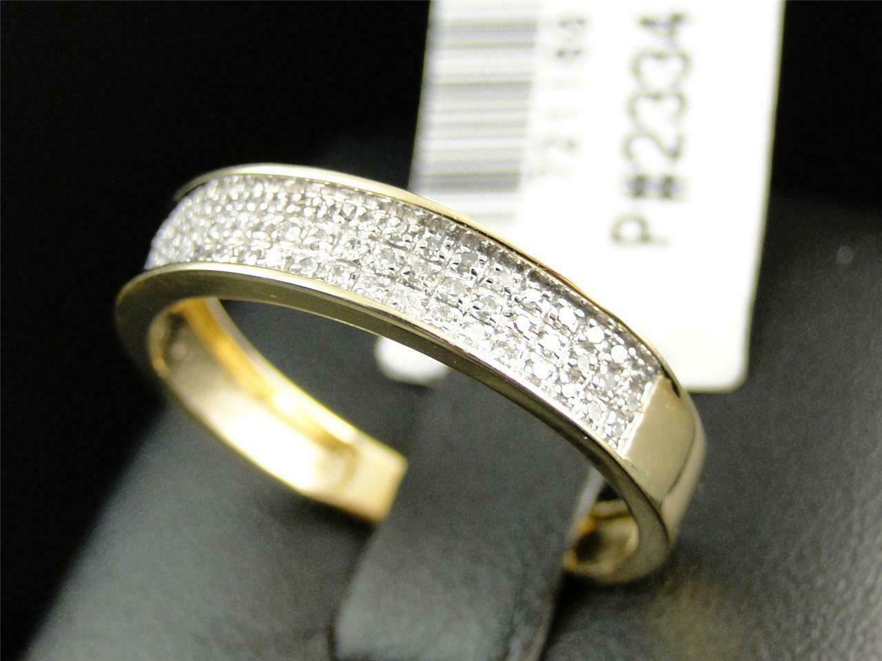0.50Ct Round Cut Diamond Mens Wedding Engagement Band Ring 14K Yellow Gold Over 5