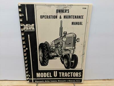 Minneapolis - Moline Model U Tractor Operation And Maintenance Manual