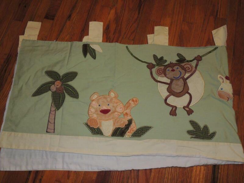 NOJO JUNGLE BABIES WINDOW VALANCE MONKEY ELEPHANT GIRAFFE PALM TREE FROG GREEN