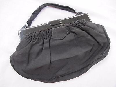 VINTAGE 1930's ART DECO BLACK RHINESTONE & CELLULOID FRAMED CREPE PURSE BAG