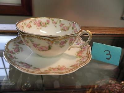 "Haviland Limoges Schleiger #270 Gold Pink Rose Swags Cup Saucer 3 3/4"" (#3)"
