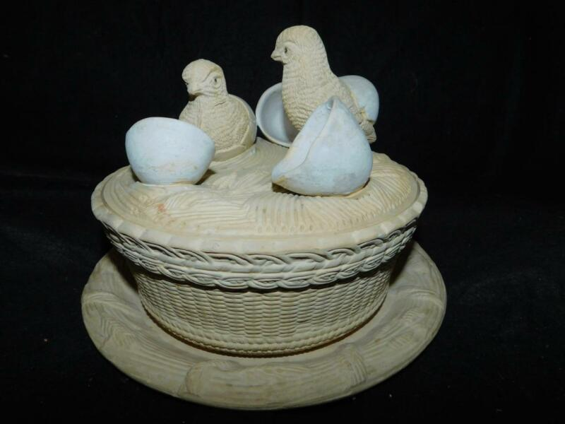 ANTIQUE CANEWARE CHICKS GAME DISH WILHELM SCHILLER