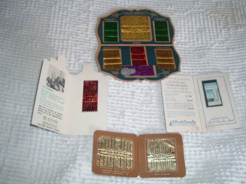 4 Vtg Lot 1950s Needle Advertisment Book Kits Insurance Bulding Bank + #sp18
