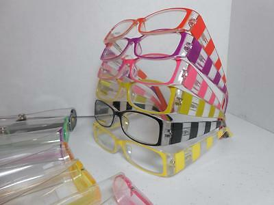 Womens Spring Hinge Reading Glasses & Case CHOOSE COLOR Strength Fat Stripes (Fat Stripes)