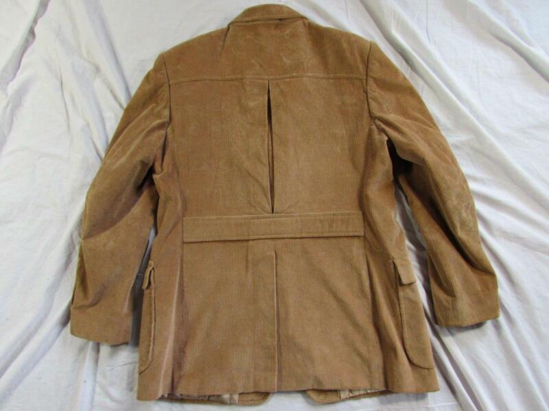 Vtg 60s 70s Carlo Briani Belt Back 30s Style Corduroy Blazer Sport Coat Jacket