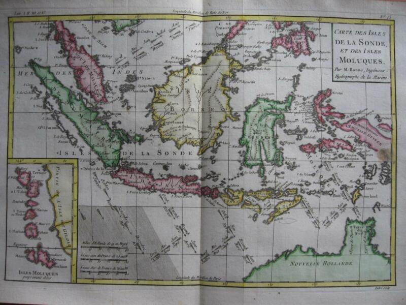 1780 - BONNE - Map EAST INDIES MOLUCCAS Malacca Sunda Java Borneo N. Australia