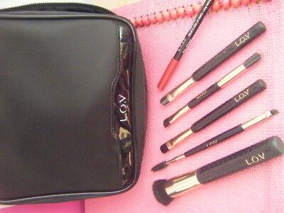7 tlg. L.O.V. Pinsel Kosmetiktasche mit 5 Pinseln und Lipliner - neu  Make-up Pinsel Und Kosmetik Tasche