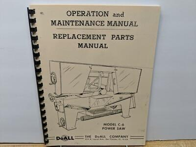 Doall C-6 Metal Cutting Band Saw Operation Maintenance Parts Manual