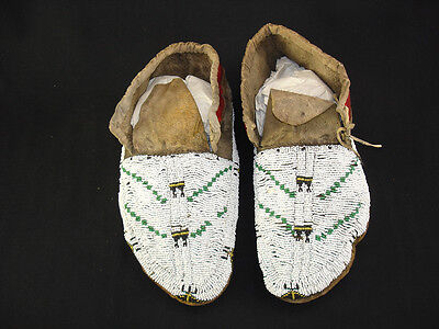 A pair of Beaded Souix Moccasins, Native American Indian, Circa: 1900