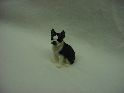 BOSTON TERRIER puppy TiNY DOG Figurine HAND PAINTED MINIATURE Collectible Statue