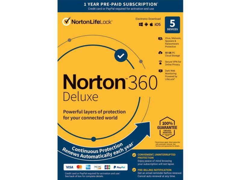 Norton 360 Deluxe - Antivirus software for 5 Devices with Auto Renewal - Include