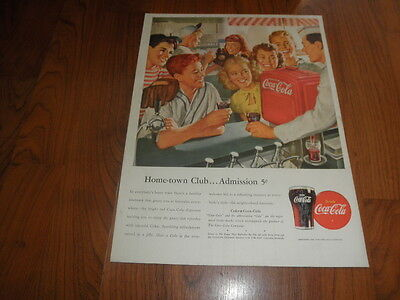 "COCA-COLA AD-1947- ""Home-town Club...Admission 5 Cents""-Original Magazine Print"