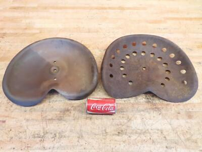 2 Antique Vintage Metal Steel Tractor Equipment Seat Pans Good Solid Condition