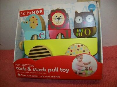 Skip Hop Alphabet Zoo Rock and Stack Pull Toy, ages 18M+, New, Free ship!