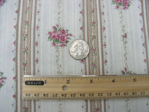 Yuwa Victorian Pink Rose Bouquets Ribbons Ivory/Cocoa Dobby Silky Cotton Fabric