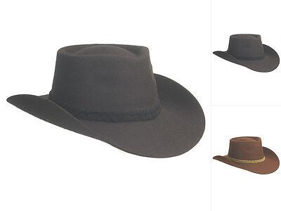 ut Cowboyhut Filzhut breite Krempe schwarz braun S-XL (Braun Filz Cowboy-hut)
