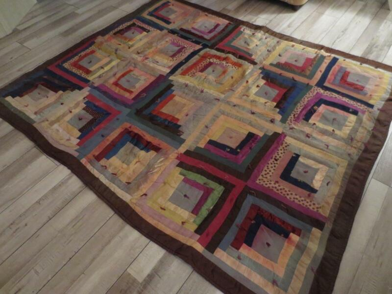 "Vintage Primitive Silky Scrap Log Cabin Hand-Stitched Quilt 64"" x 76"""