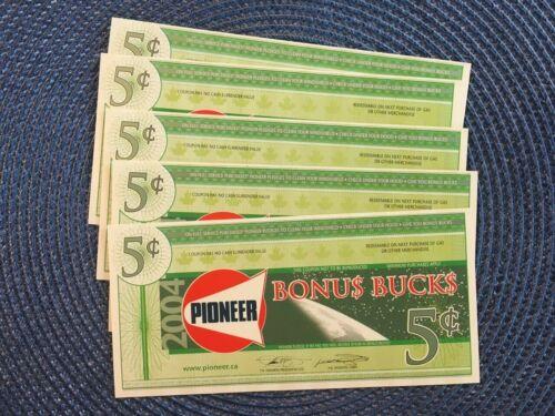 1 - 2004 Pioneer Gas Bonus Bucks / coupons for 5 cents
