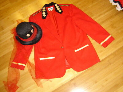 Mardi Gras Ringmaster circus costume womens 14 red jacket top hat](Ringmaster Jacket Women)
