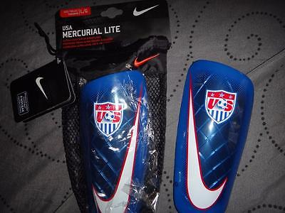 NIKE USA SOCCER MERCURIAL LITE SHIN GUARDS SIZE L SP0316 461 NEW $$$$
