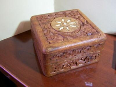 Antique Asian Hand Carved Hinged Trinket Box with Bone Inlay 4x4