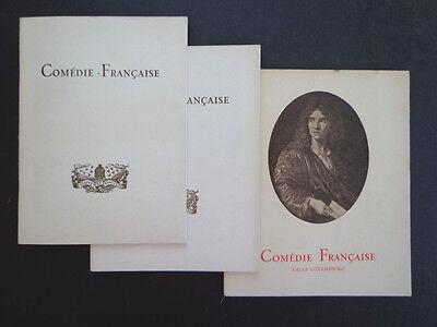 3 vintage Comédie-Française programs, 1951, '60, '61 INV2360
