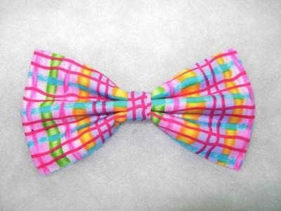 Neon Pink Bow tie / Whimsical Plaid / Pink, Green, Gold, Blue / Pre-tied Bow - Neon Bow Ties