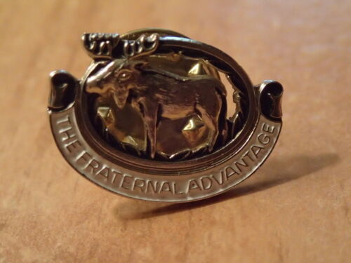 Vintage Hat/Lapel Pin-MOOSE LODGE-The Fraternal Advantage-SILVER & WHITE PIN