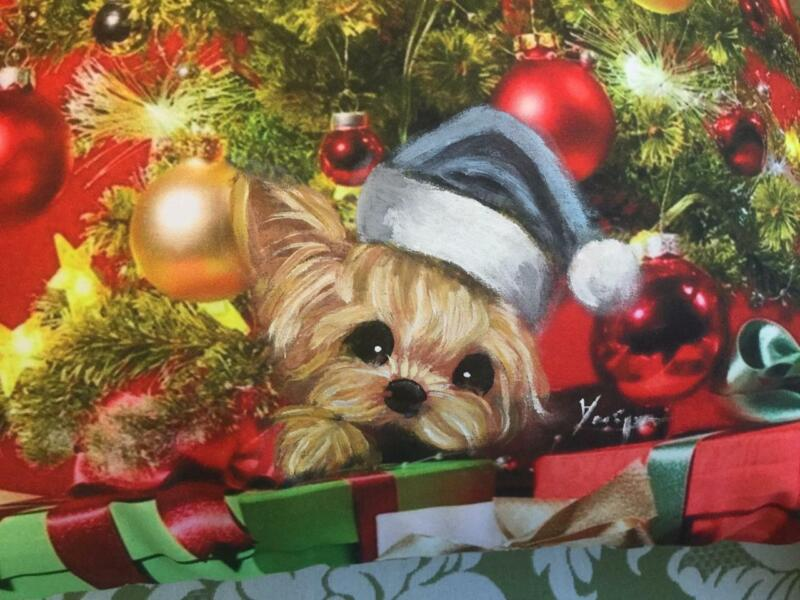 YORKIE HAND PAINTED CHRISTMAS PILLOW BEAUUUTIFUL!