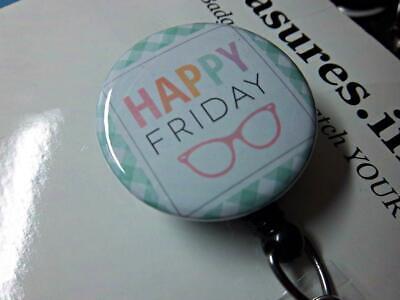 HAPPY FRIDAY Glasses Cute TRENDY Retractable Reel ID Badge Holder U pick (Cute Trendy Glasses)
