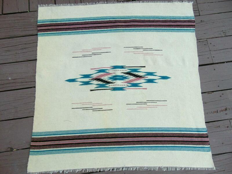 Small Vintage Native American Hand Woven Wool Rug 30 x 30 Used Ivory Teal Good