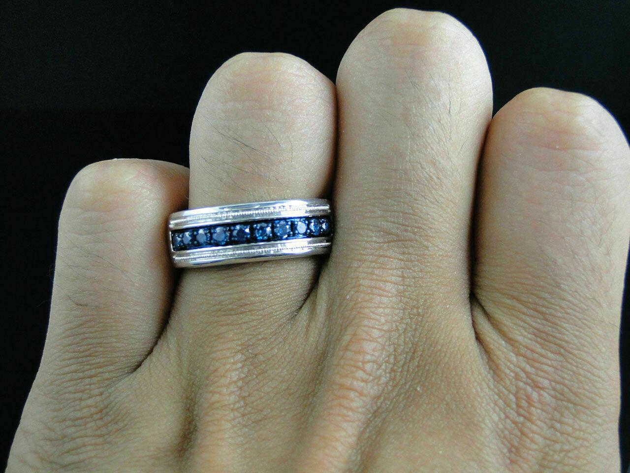 1 Ct Round Cut Blue Diamond Wedding Engagement Mens Band Ring 14K White Gold Fn 1