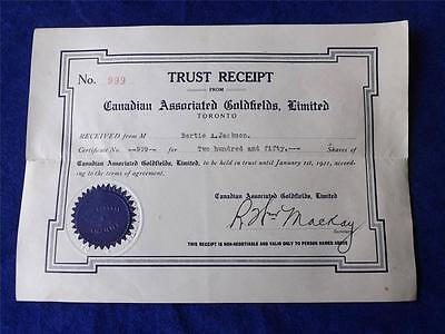 Gold Shares Trust Receipt 1921 Canadian Associated Goldfields Limited No  999