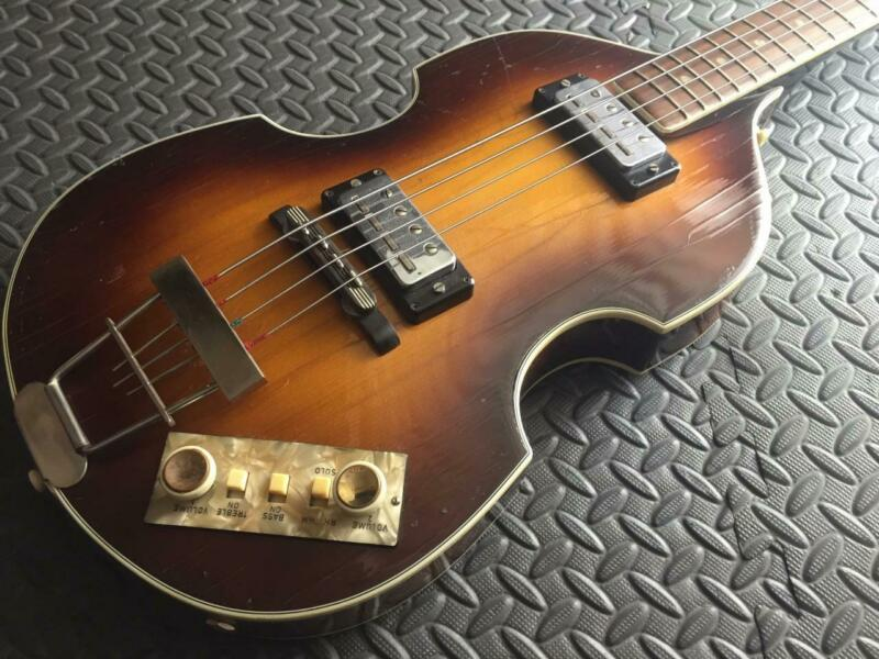 RARE NEAR MINT ORIGINAL VINTAGE 1966 HOFNER H500/1 BEATLE BASS FLAMEY!!!