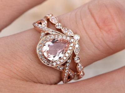 Best 6x8mm Pear Morganite & Dia 14K Rose Gold Over Wedding Bridal Halo Ring