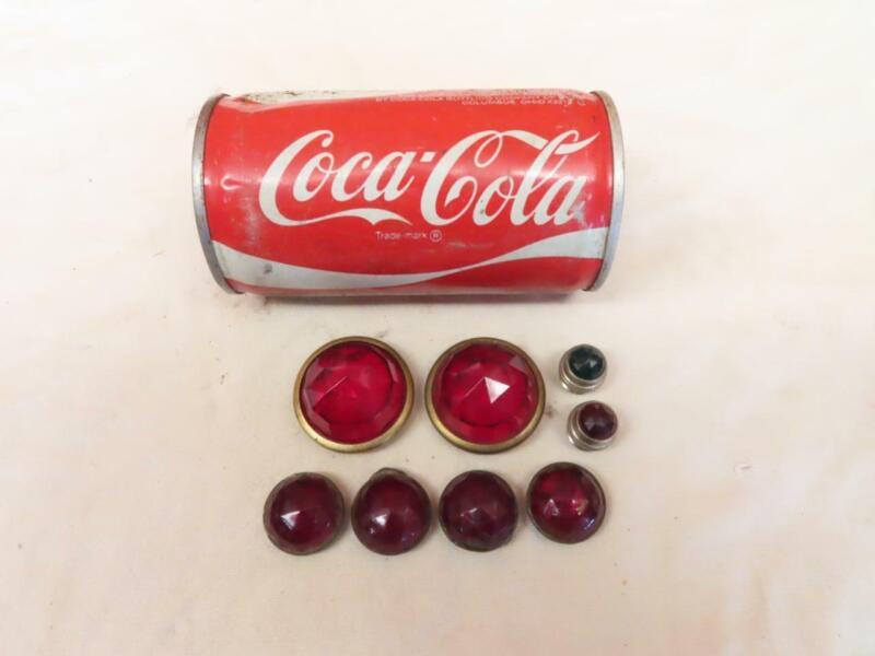 "7 Vintage Red & Green Glass Jeweled Indicator Light Lens 1/2"" 7/8"" & 1-3/8"" wide"