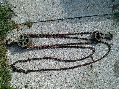 Vintage Yale Chain Fall Hoist Differential Block 12 Ton Manual Double Pulley