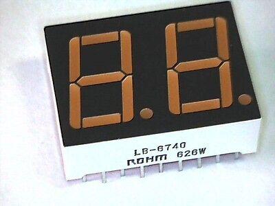 7-Segment Doppelanzeige 2 Digit LED Display 14,2mm ROT Rohm LB-6740 gem. Kathode