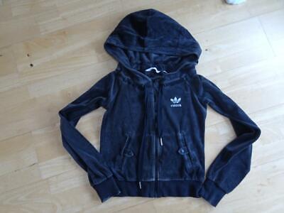 ADIDAS ladies brown soft velour hooded zip thru jumper jacket UK 8 EXCELLENT