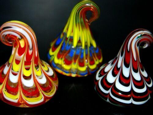 Three Handmade Art Glass Candy Kisses Beautiful No Two Alike