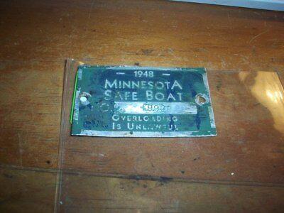 VINTAGE  1948 MINNESOTA SAFE BOAT TAG / LICENSE ??