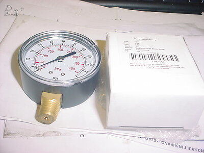 2-12 Pressure Gauge 0-60 Psi Gage 14 Bspt Bottom New Air Hydraulic