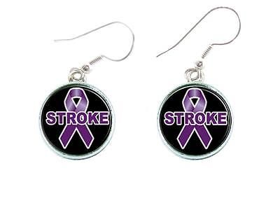 Stroke Awareness Purple Ribbon Silver Wire Hook Earrings Jewelry Gift Fundraiser (Stroke Awareness Ribbon)