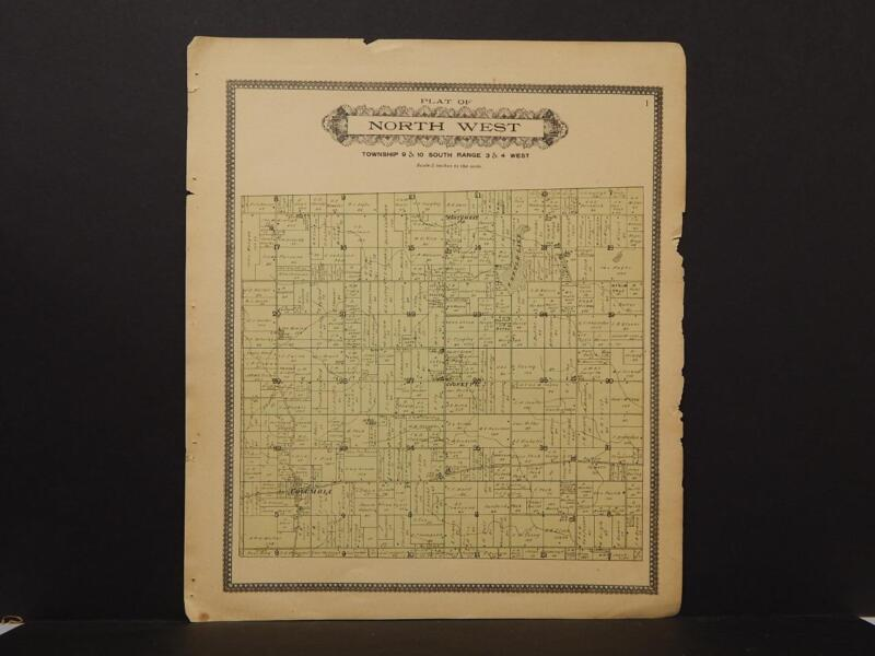 Ohio Williams County Map North West Township 1904  !J8#12